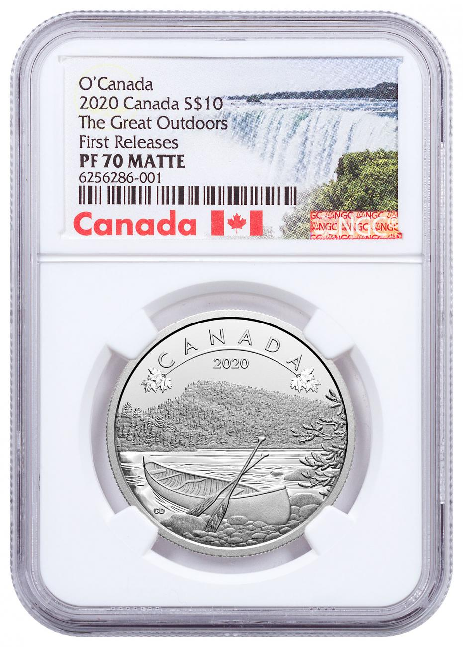 2020 Canada O Canada - Great Outdoors 1/2 oz Silver Matte Proof $10 Coin NGC PF70 Exclusive Canada Label