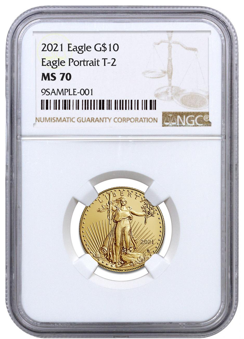 2021 1/4 oz Gold American Eagle Type 2 $10 NGC MS70 Brown Label
