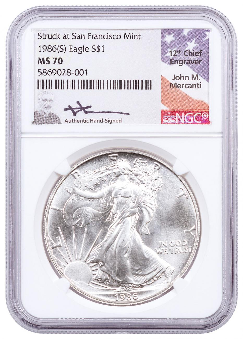 1986-(S) American Silver Eagle Struck at San Francisco NGC MS70 Mercanti Signed Label