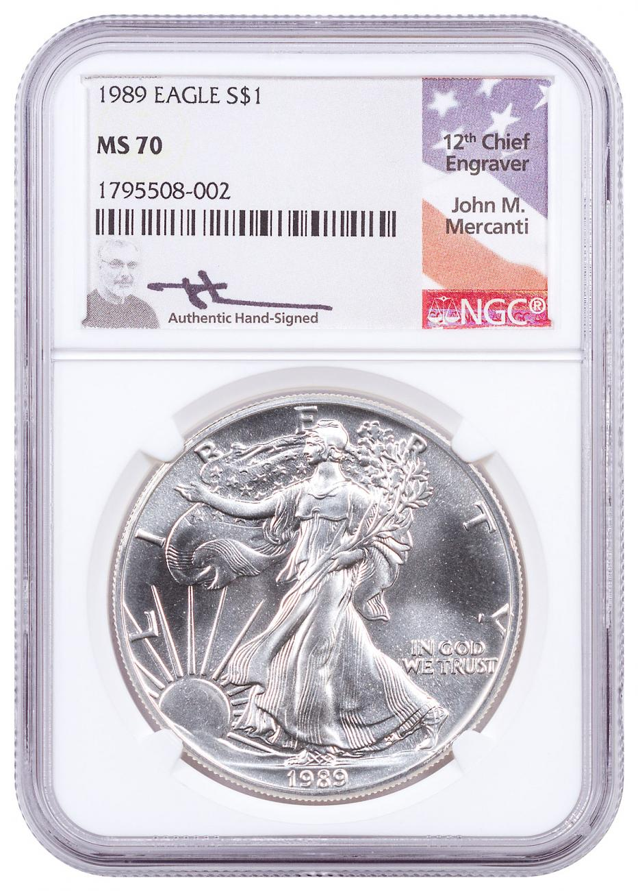 1989 American Silver Eagle NGC MS70 Mercanti Signed Label