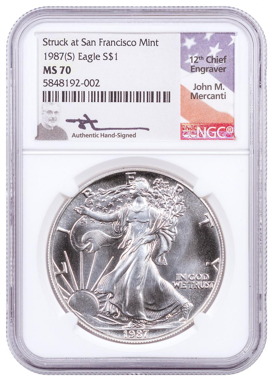 1987-(S) American Silver Eagle Struck at San Francisco Mint NGC MS70 Mercanti Signed Flag Label