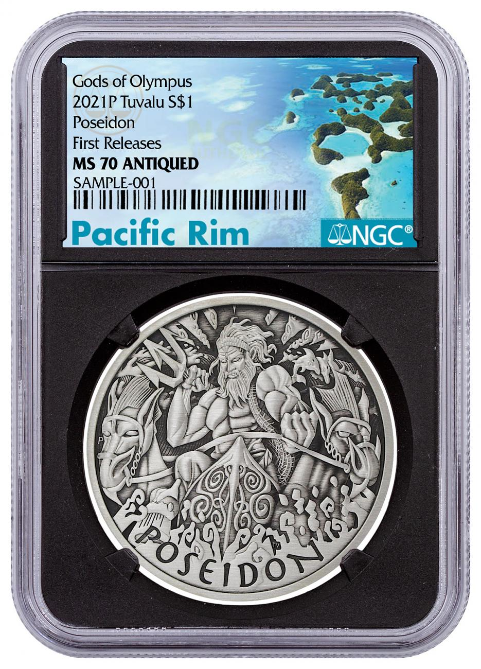 2021 Tuvalu Gods of Olympus - Poseidon 1 oz Silver Antiqued $1 Coin NGC MS70 FR Black Core Holder Pacific Rim Label