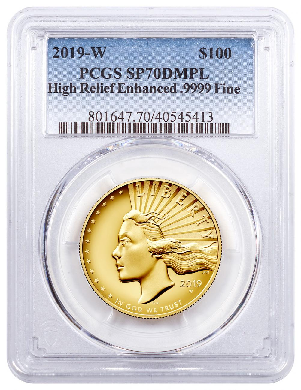 2019-W American Liberty Enhanced Finish High Relief $100 Gold Specimen Coin PCGS SP70 DMPL