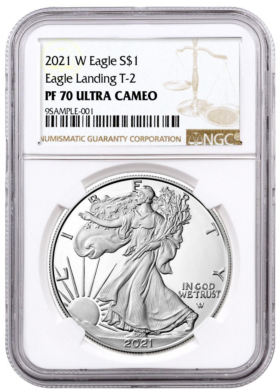 2021-W Proof American Silver Eagle Type 2 NGC PF70 UC Brown Label
