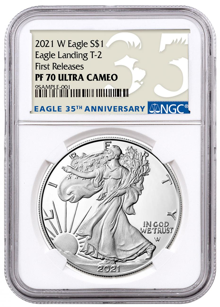 2021-W Proof American Silver Eagle Type 2 NGC PF70 UC FR 35th Anniversary Label