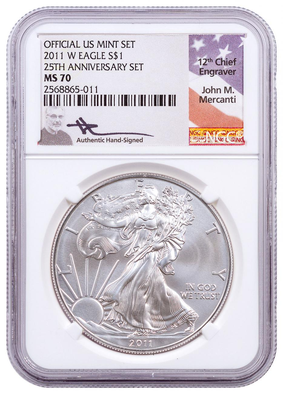 2011-W West Point Silver Eagle From 25th Anniversary Set NGC MS70 Mercanti Signed Label