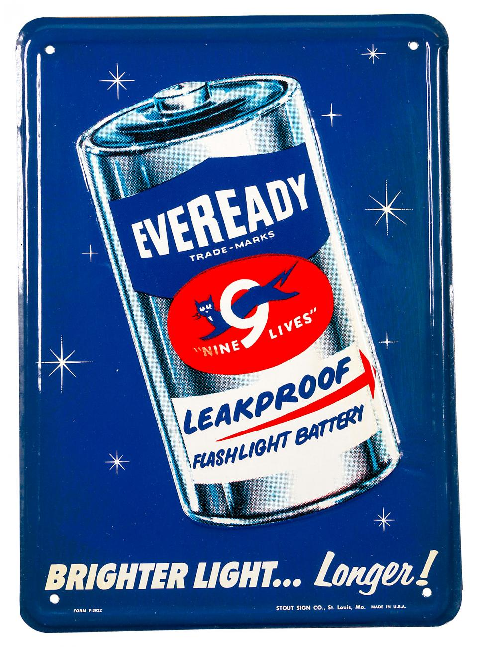 """1950's Eveready """"Nine Lives"""" Batteries Sign Excellent / New Old Stock"""