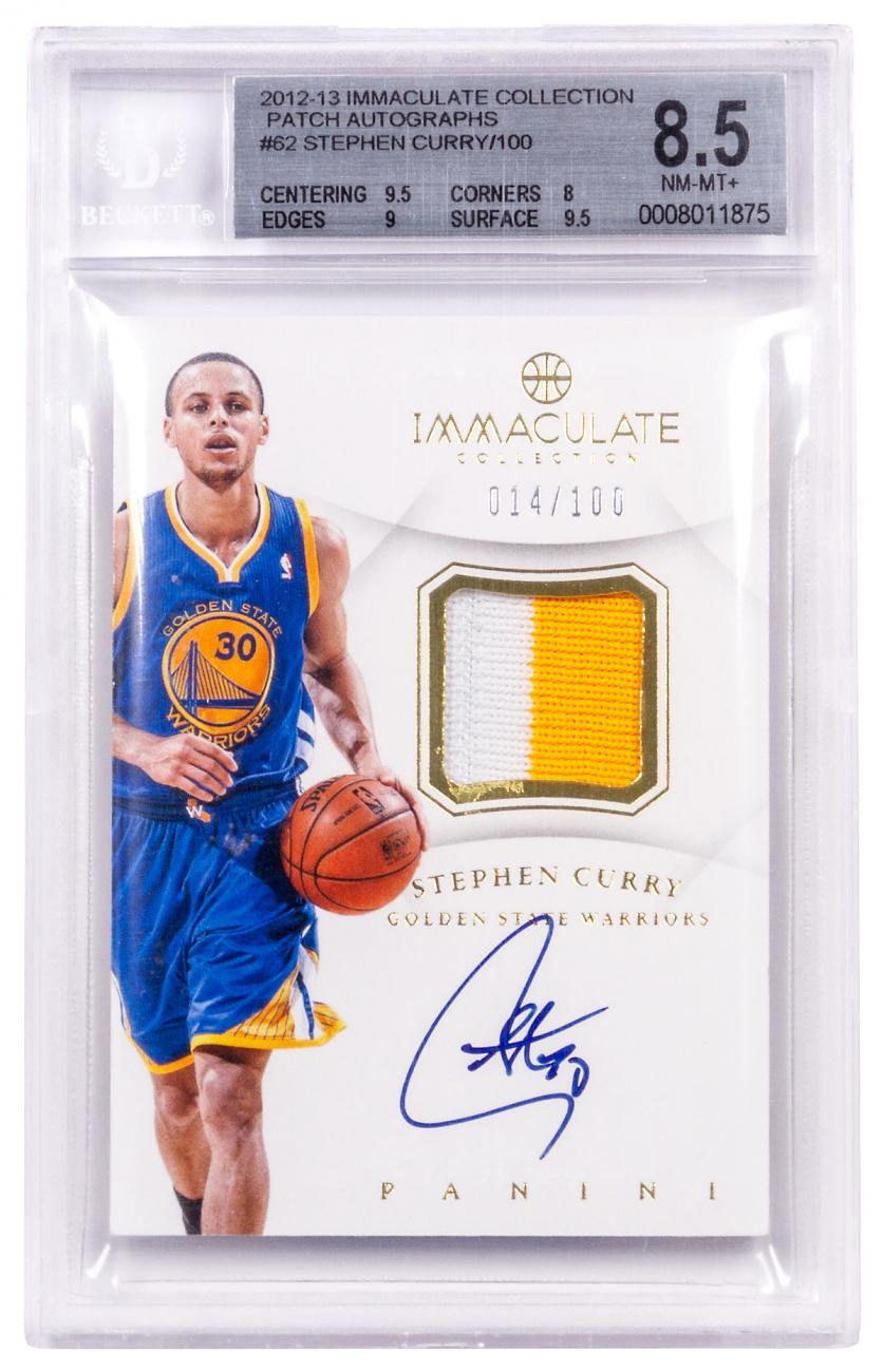 2012-13 Immaculate Stephen Curry Patch Autograph BGS 8.5 RARE! /100