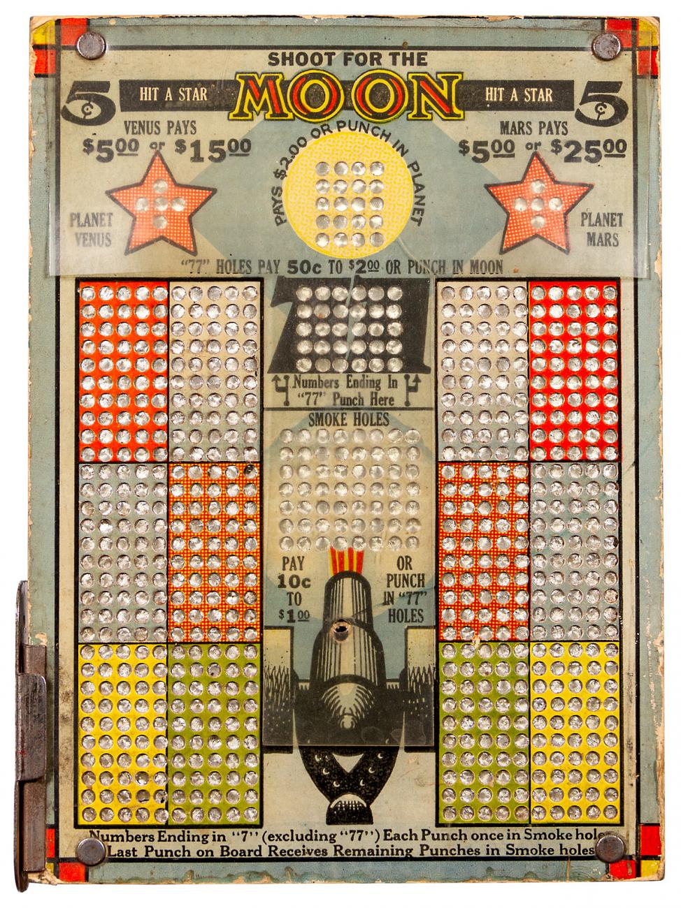 Shoot for the Moon 5 Cent 1930's Punchboard