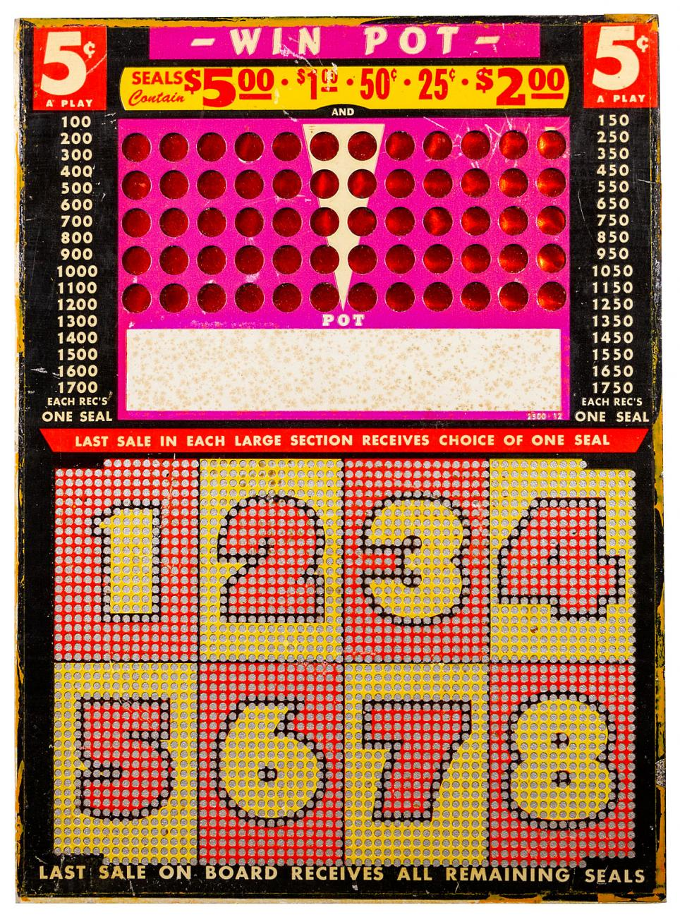 Win Pot 5 Cent 1940's Punchboard