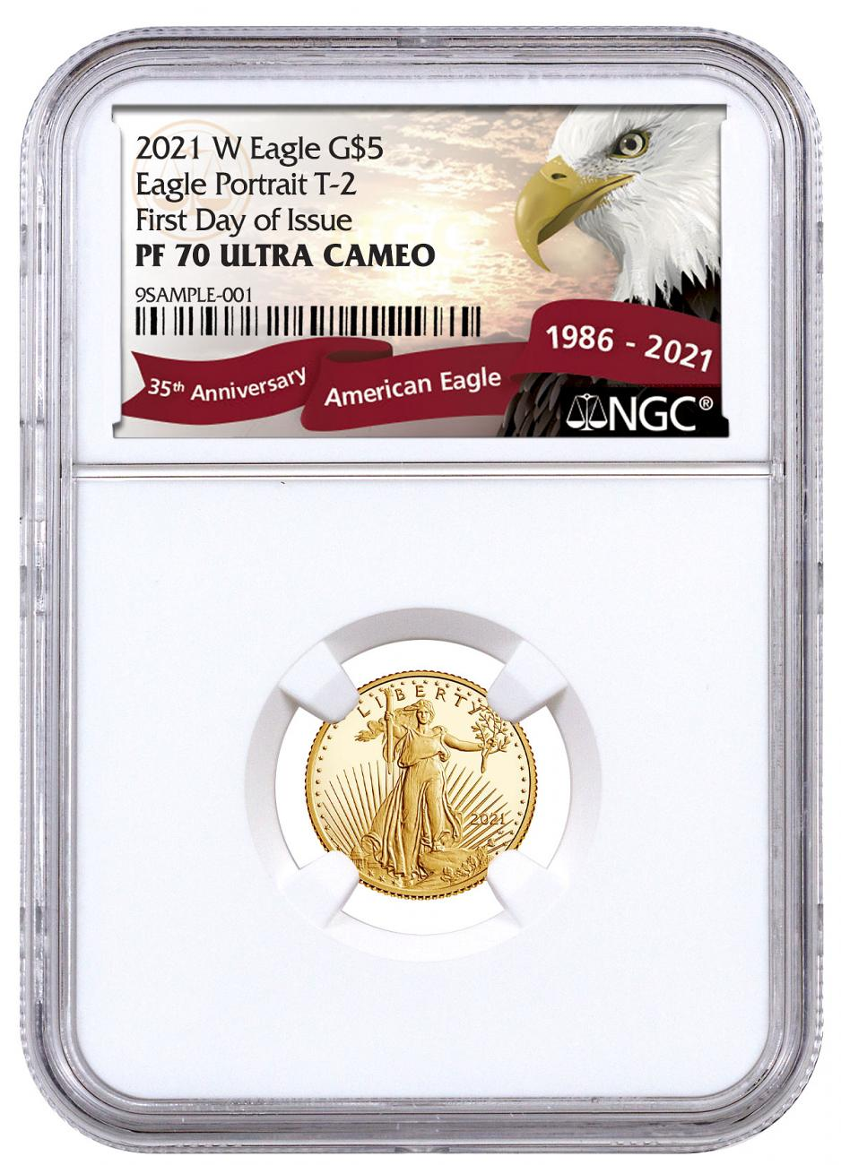 2021-W 1/10 oz Gold American Eagle Type 2 Proof $5 Scarce and Unique Coin Division NGC PF70 UC FDI Exclusive Eagle Label