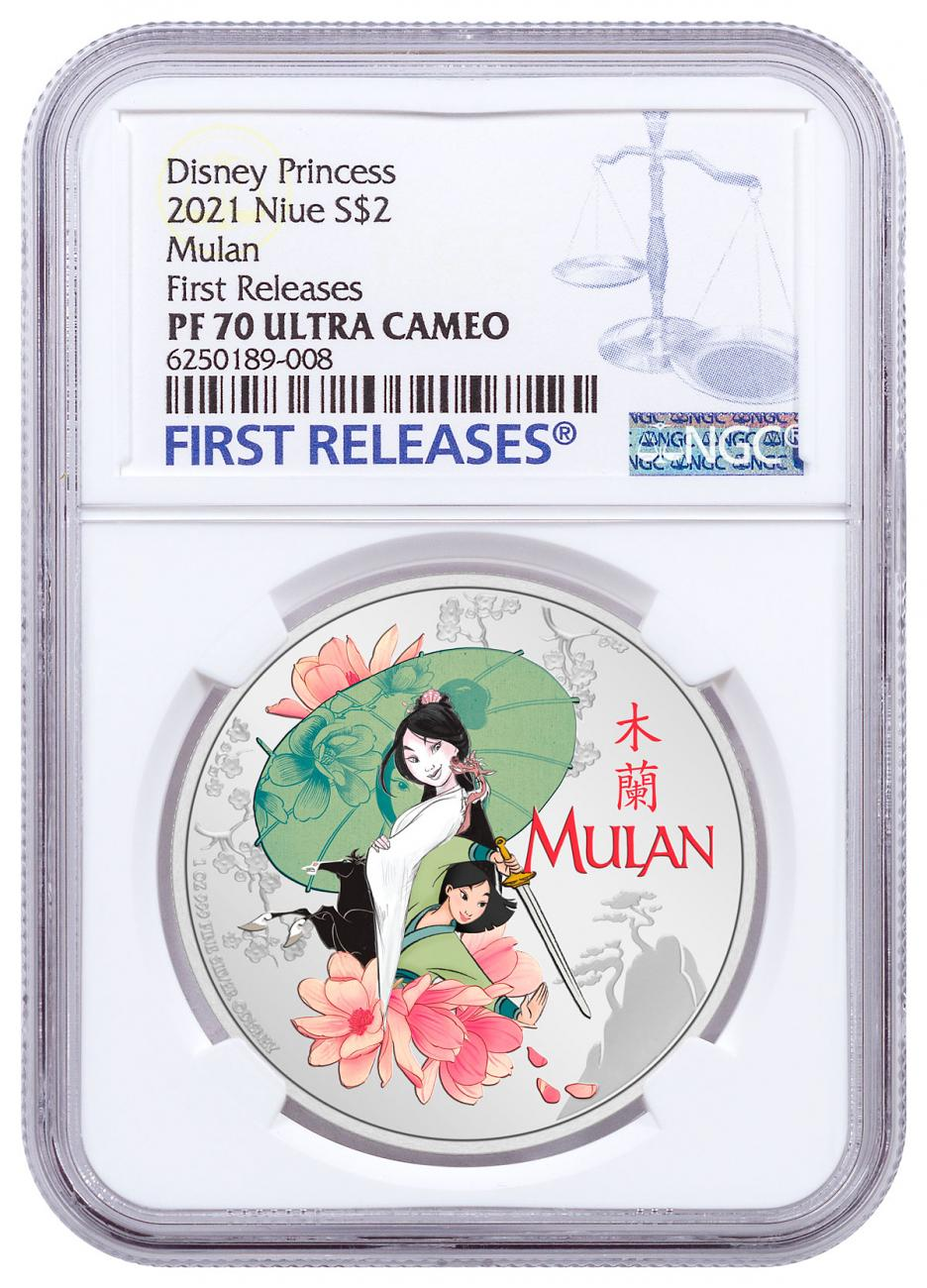 2021 Niue Disney Princess - Mulan 1 oz Silver Colorized Proof $2 Coin NGC PF70 UC FR With OGP