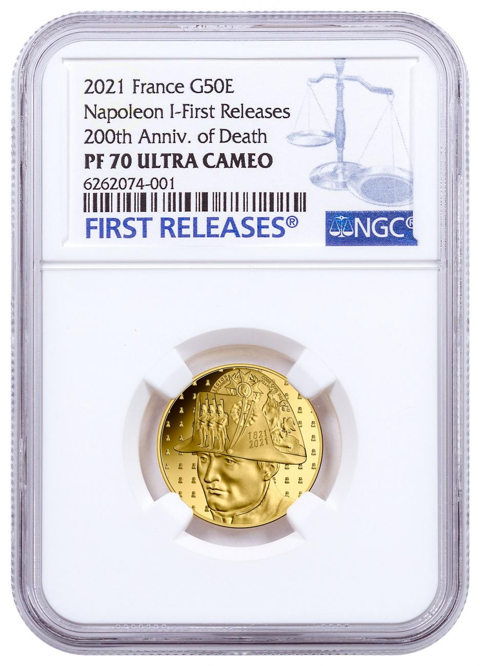 2021 France Napoleon Bonaparte - 200th Anniversary of Death 1/4 oz Gold Proof €50 Coin NGC PF70 UC FR