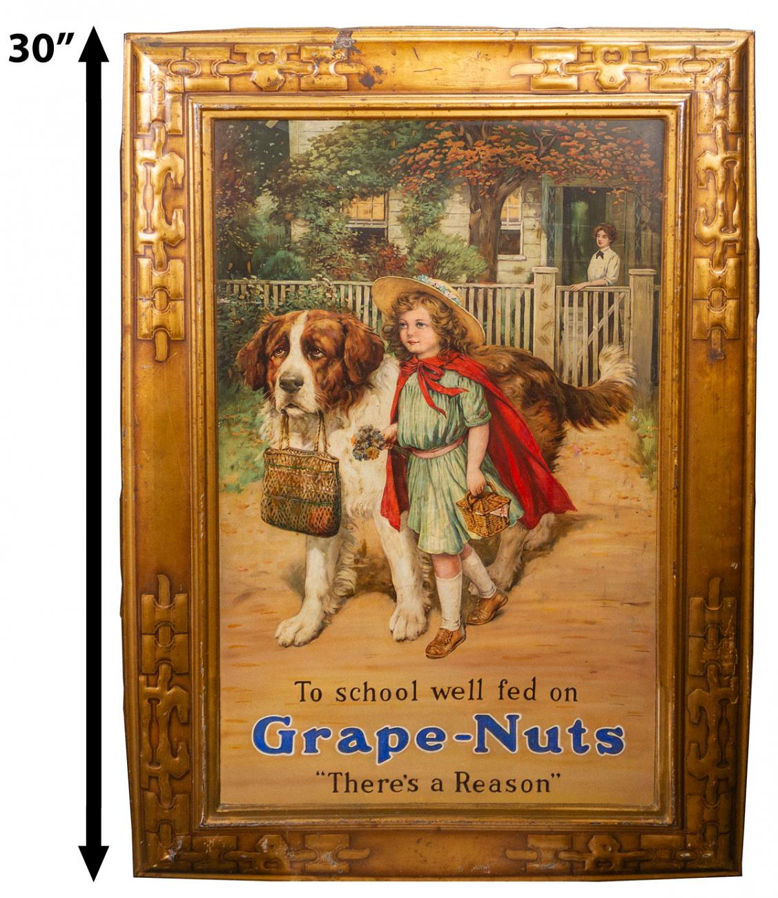Grape Nuts Self-Framed 1910's Embossed Tin Sign