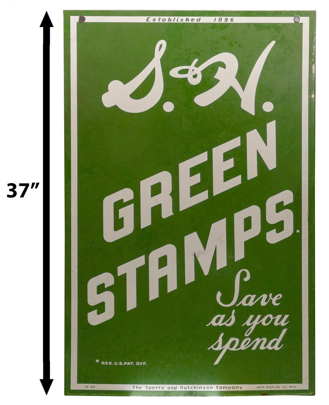 S & H Green Stamps Double Sided Porcelain Sign