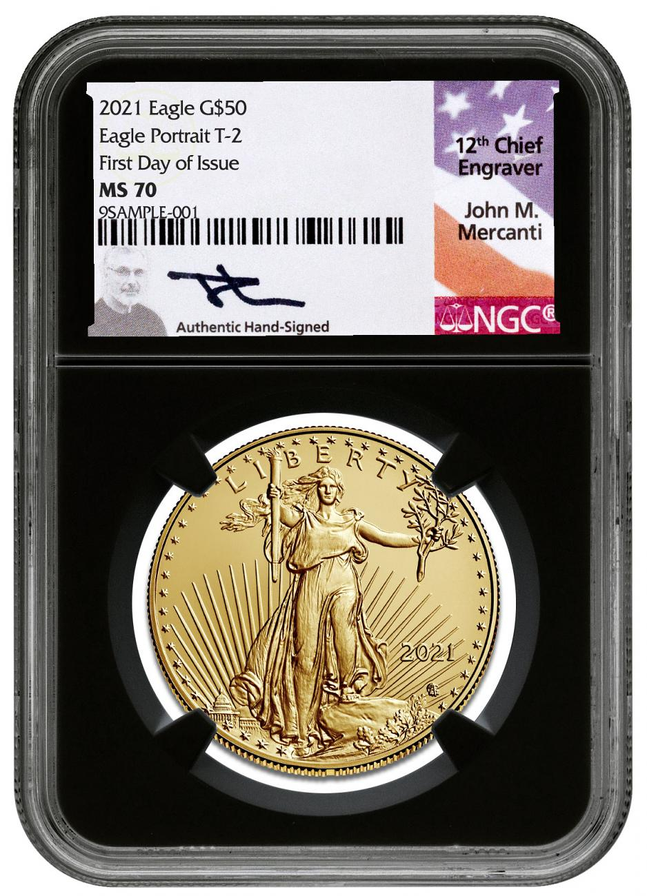 2021 1 oz Gold American Eagle Type 2 $50 Scarce and Unique Coin Division NGC MS70 FDI Black Core Holder Mercanti Signed Label