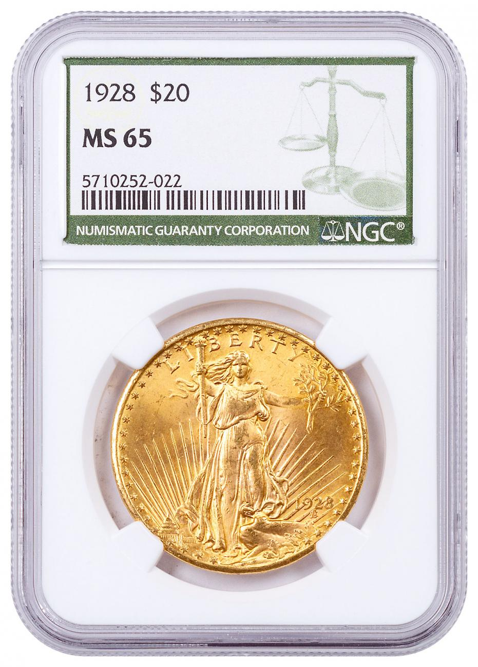 1928 Saint-Gaudens $20 Gold Double Eagle NGC MS65 Green Label