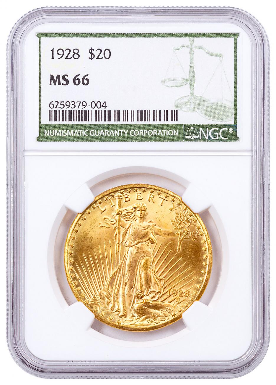 1928-P Saint-Gaudens With Moto $20 Gold Double Eagles NGC MS66 Green Label