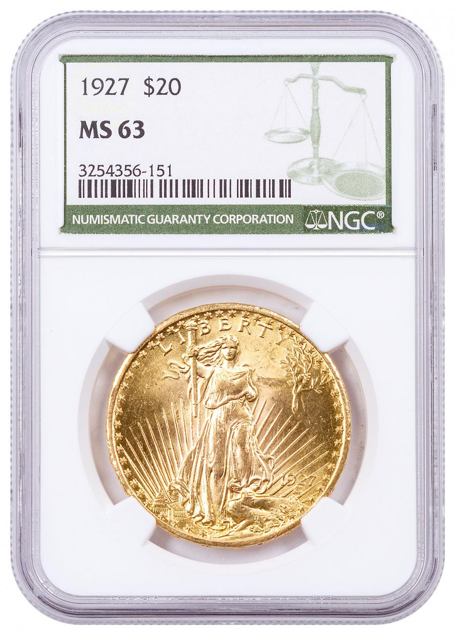 1927 Saint-Gaudens $20 Gold Double Eagle NGC MS63 Green Label