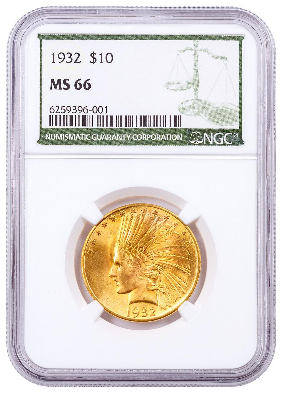 1932-P Indian Head With Motto $10 Gold Eagles NGC MS66 Green Label