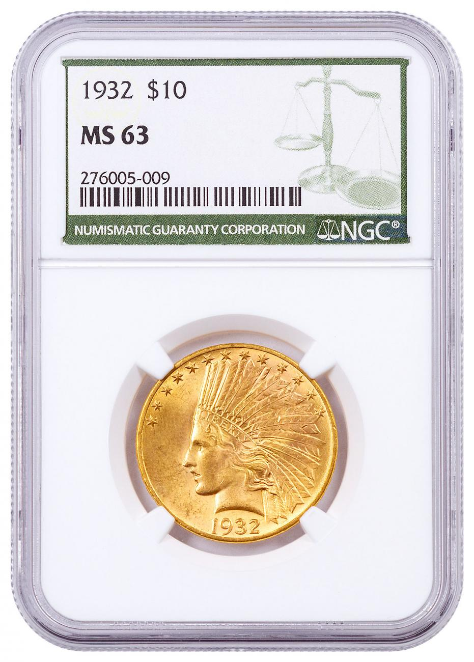 1932-P Indian Head With Motto $10 Gold Eagles NGC MS63 Green Label