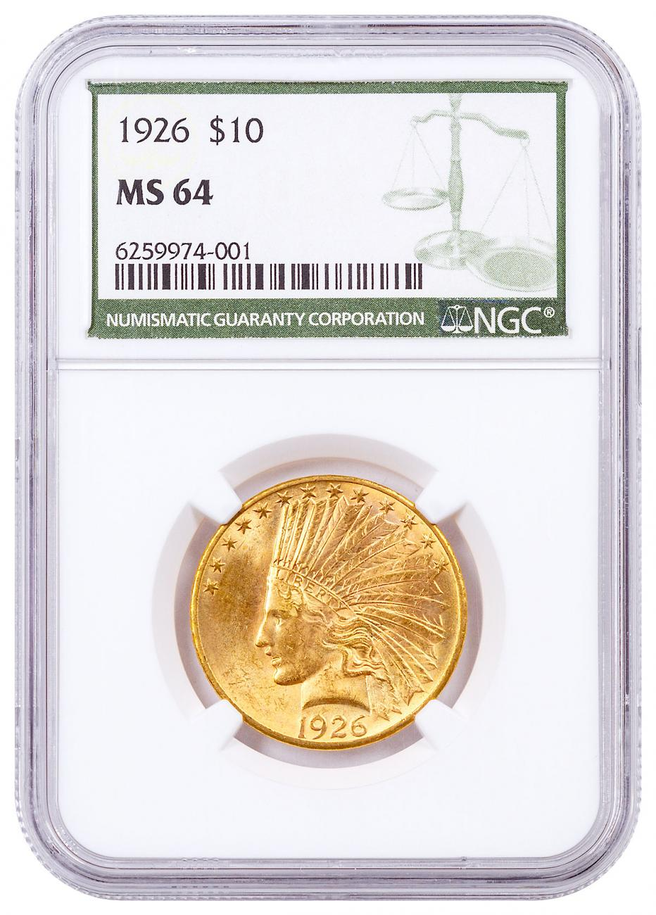 1926-P Indian Head $10 Gold Eagles NGC MS64 Green Label