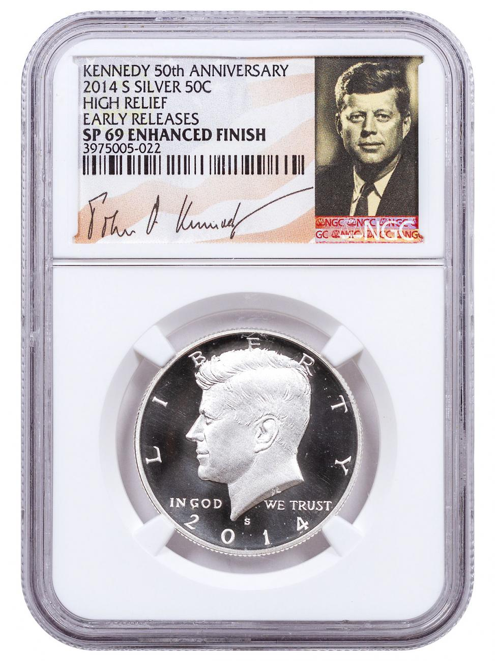 2014-S Silver 50th Anniversary Specimen High Relief Kennedy Half Dollar NGC SP69