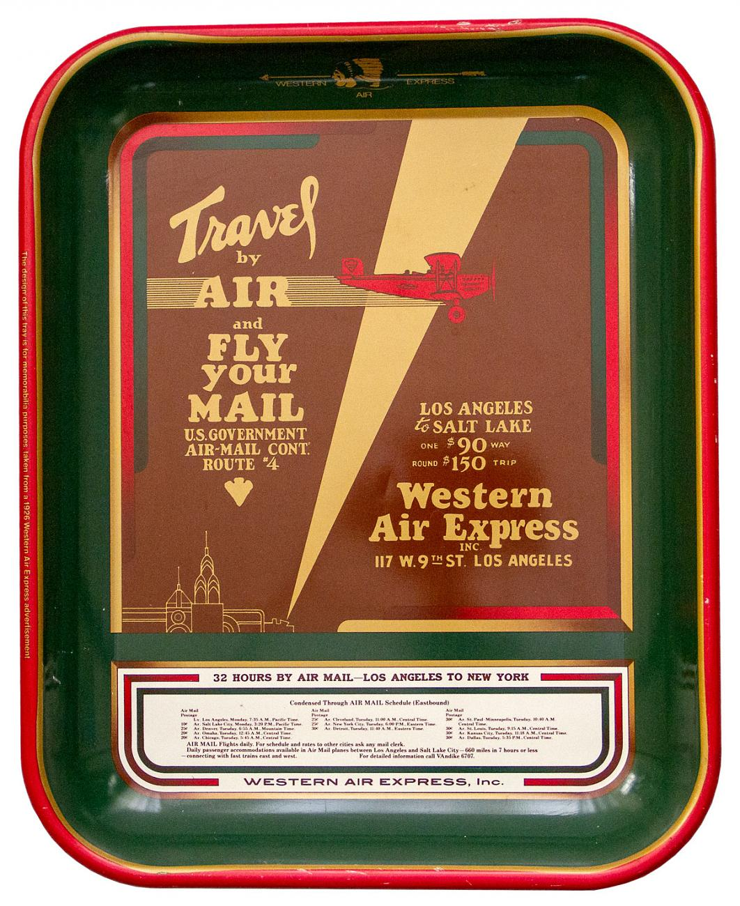 1920's Western Express Air Advertising Serving Tray Excellent