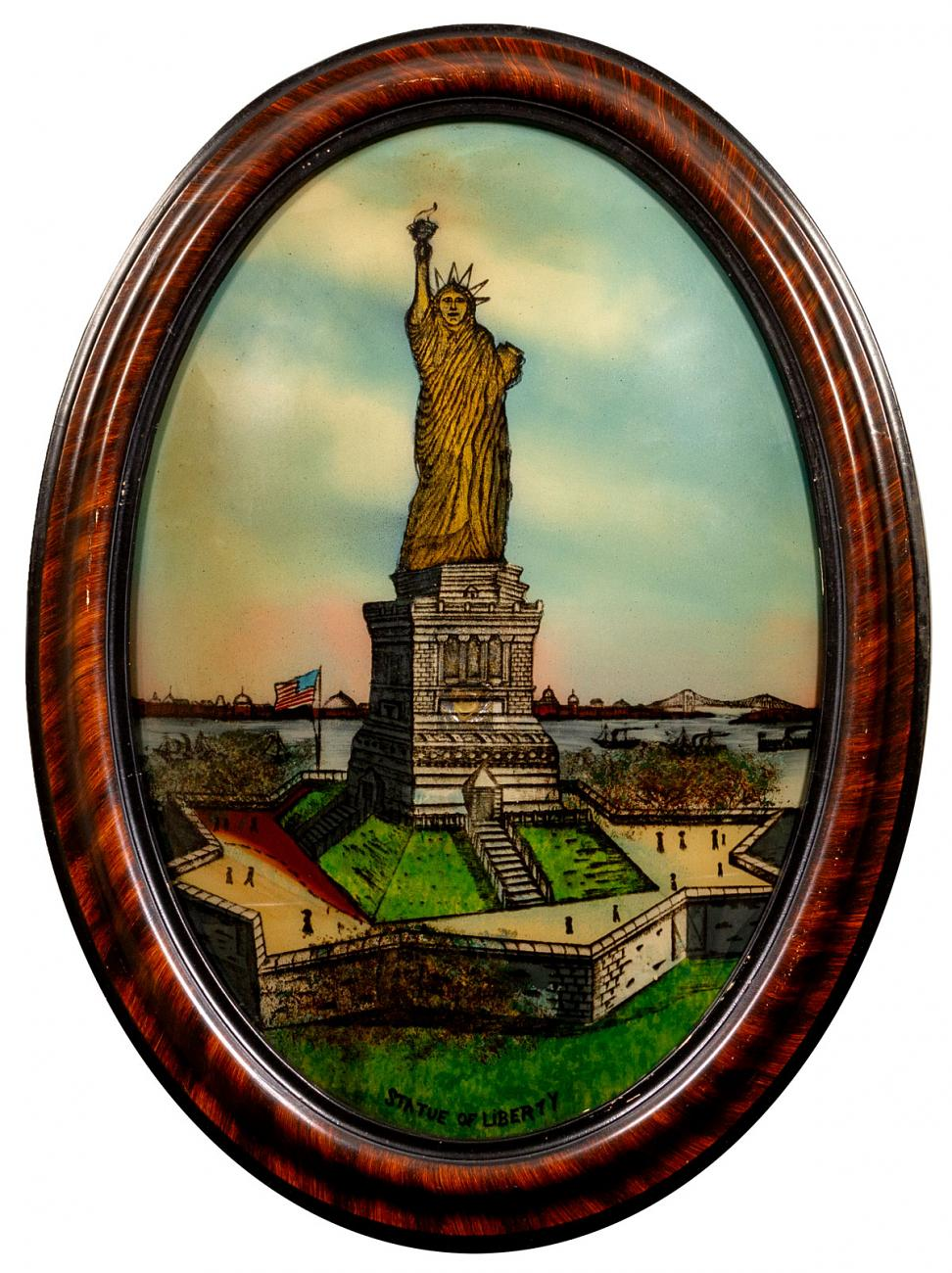 1910-1920's Statue of Liberty & US Capitol Reverse on Glass Pieces Excellent