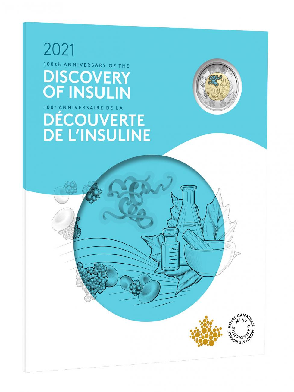 7-Coin Set - 2021 Canada Insulin - 100th Anniversary of the Discovery Colorized Coins GEM BU OGP