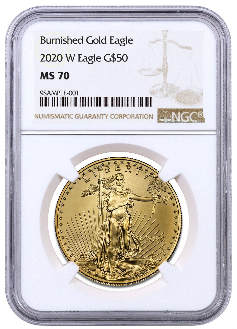 2020-W 1 oz Burnished Gold American Eagle $50 NGC MS70 Brown Label