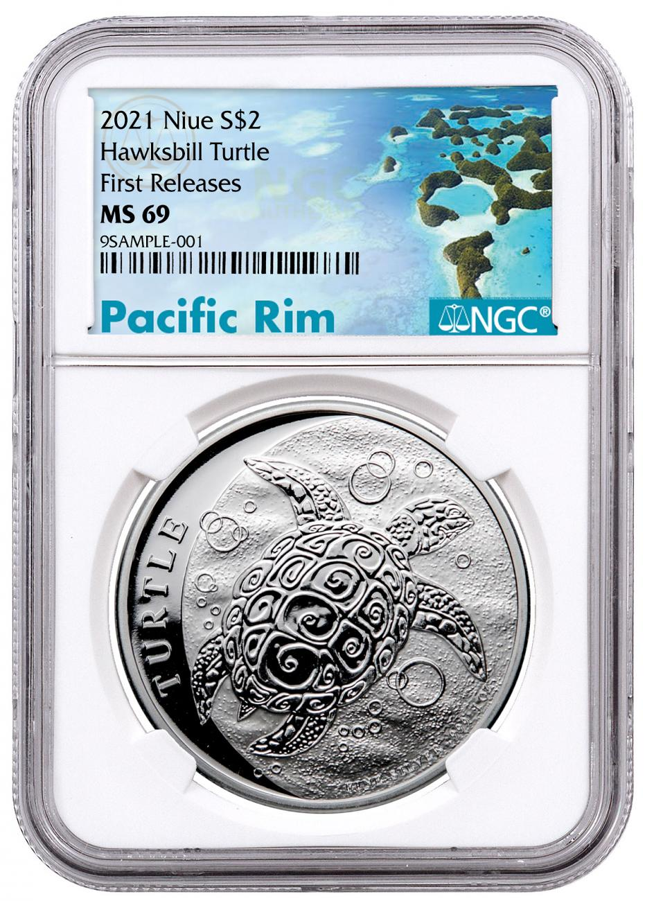 2021 Niue 1 oz Silver Hawksbill Turtle $2 Coin NGC MS69 FR Exclusive Pacific Rim Label