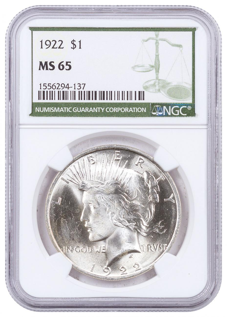 1922-P Silver Peace Dollar NGC MS65 Green Label