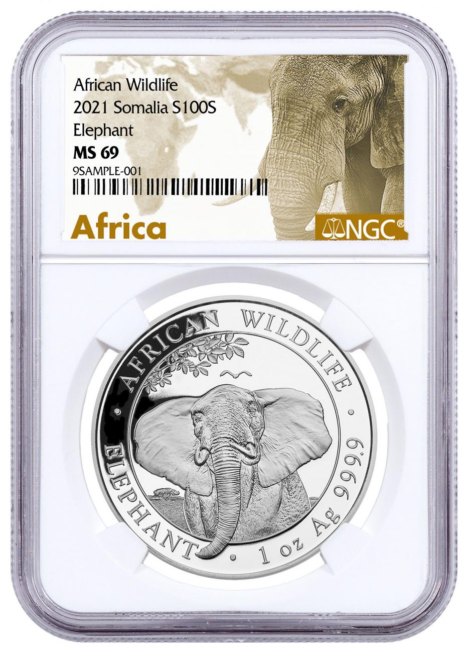 2021 Somalia 1 oz Silver Elephant Sh100 Coin NGC MS69 Exclusive African Elephant Label