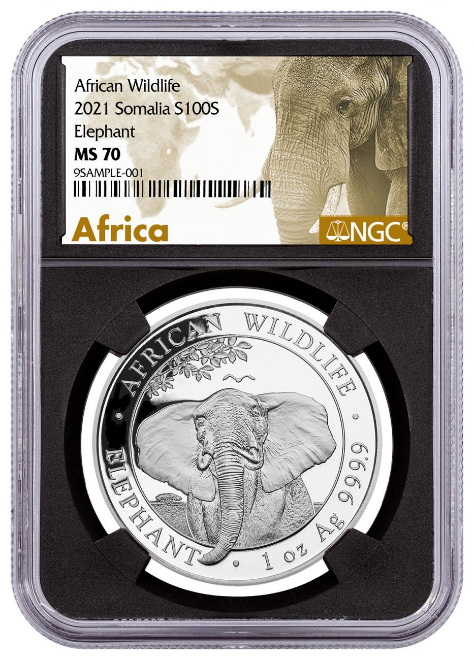 2021 Somalia 1 oz Silver Elephant Sh100 Coin NGC MS70 Black Core Holder Exclusive African Elephant Label