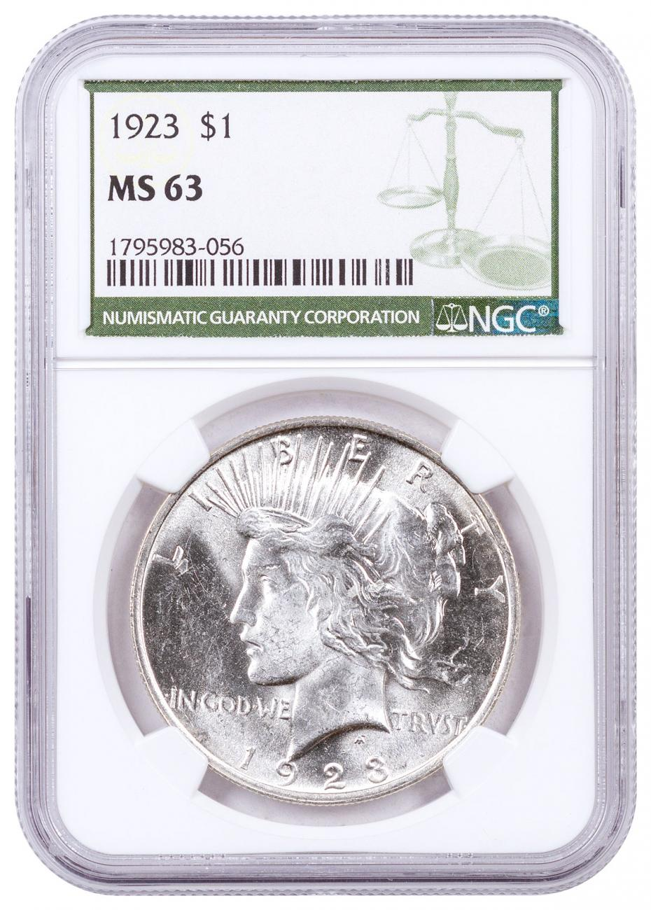 1923-P Silver Peace Dollar NGC MS63 Green Label