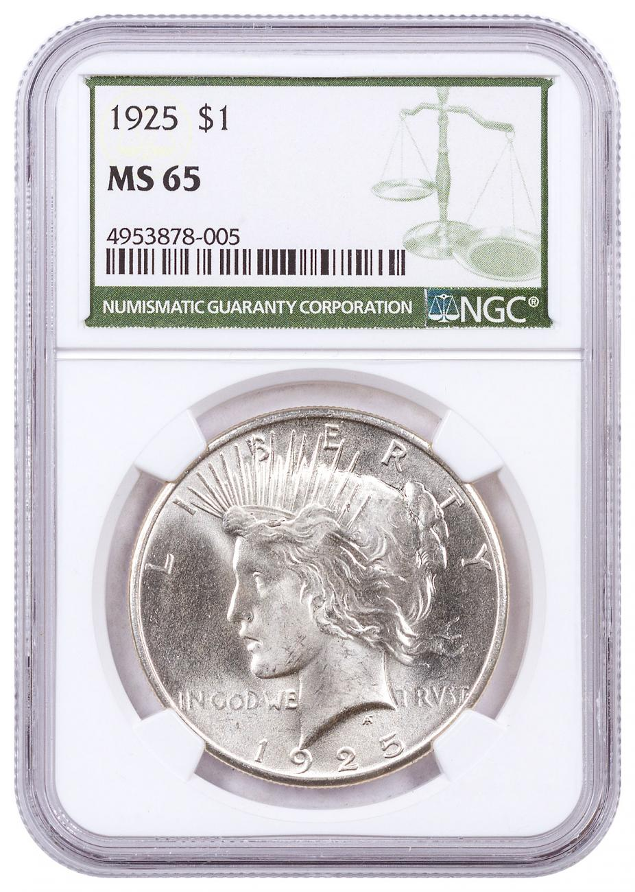 1925-P Silver Peace Dollar NGC MS65 Green Label