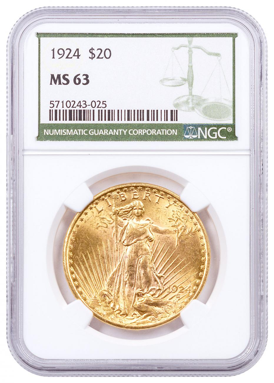 1924 Saint-Gaudens With Moto $20 Gold Double Eagles NGC MS63 Green Label