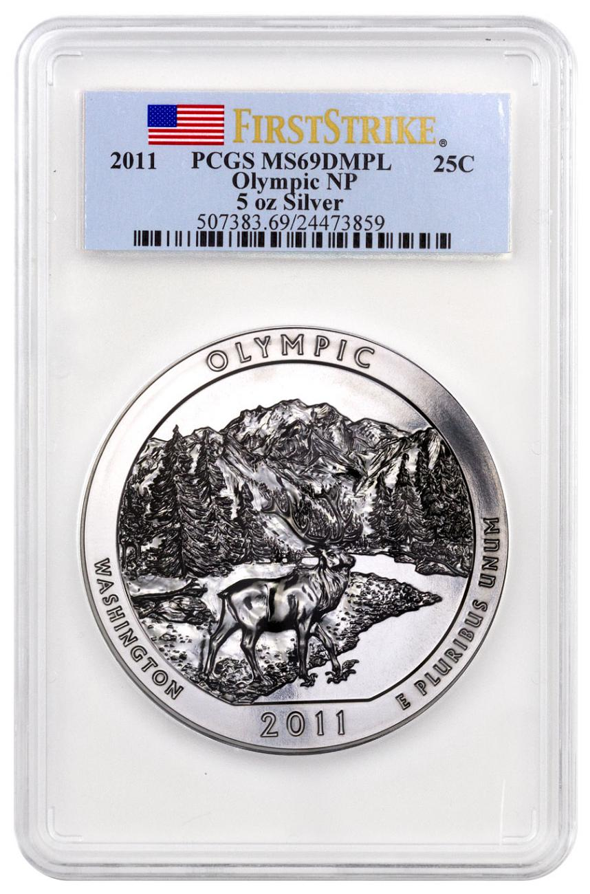 2011 Olympic 5 oz. Silver America the Beautiful Coin PCGS MS69 DMPL FS