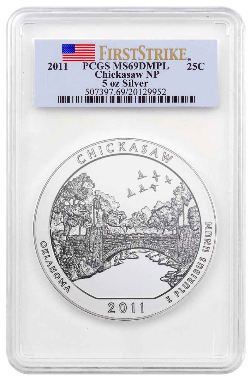 2011 Chickasaw 5 oz. Silver America the Beautiful Coin PCGS MS69 DMPL FS