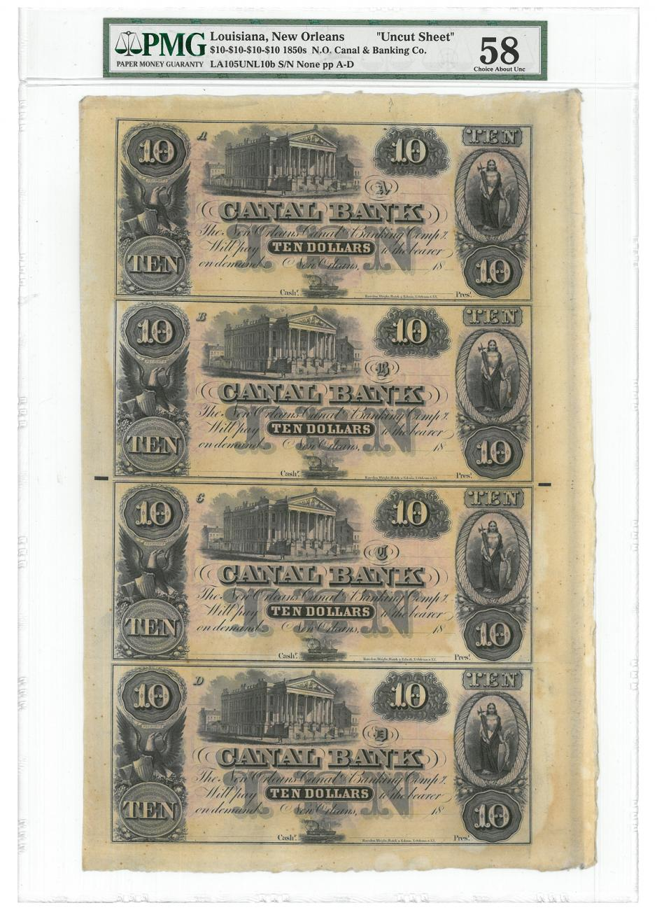 1850 $10 Obsolete Bank Note - Canal & Banking Company PMG Ch. AU58