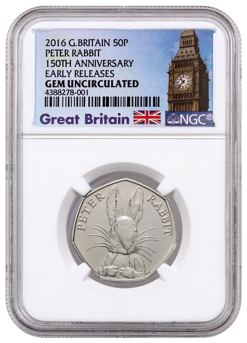 2016 Great Britain 50p Clad 150th Anniversary of Beatrix Potter - Peter Rabbit - NGC GEM BU Early Releases (Exclusive Great Britain Label)