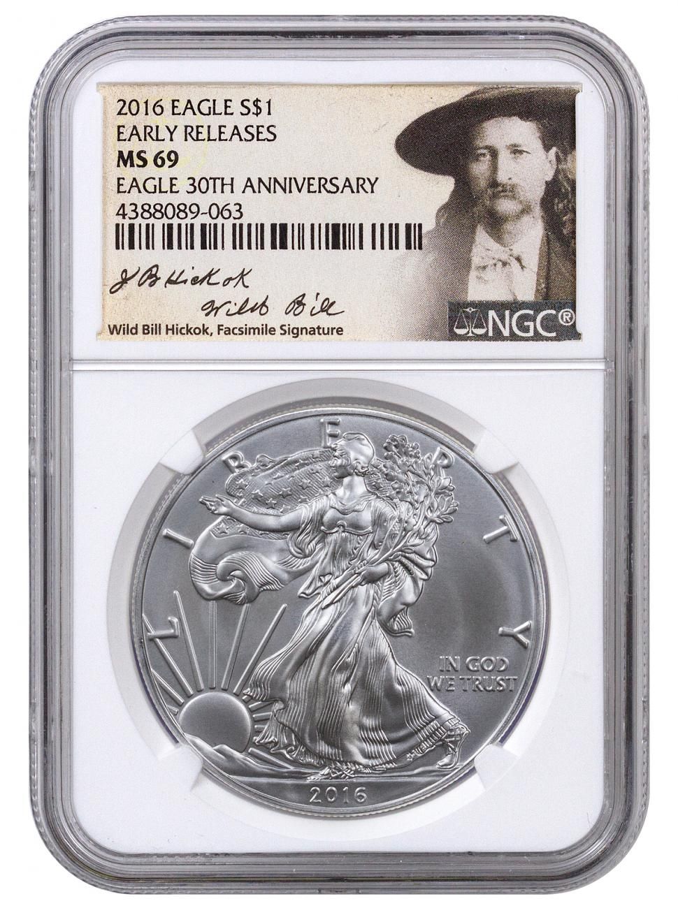 2016 American Silver Eagle - NGC MS69 Early Releases (Wild Bill Hickok Label)