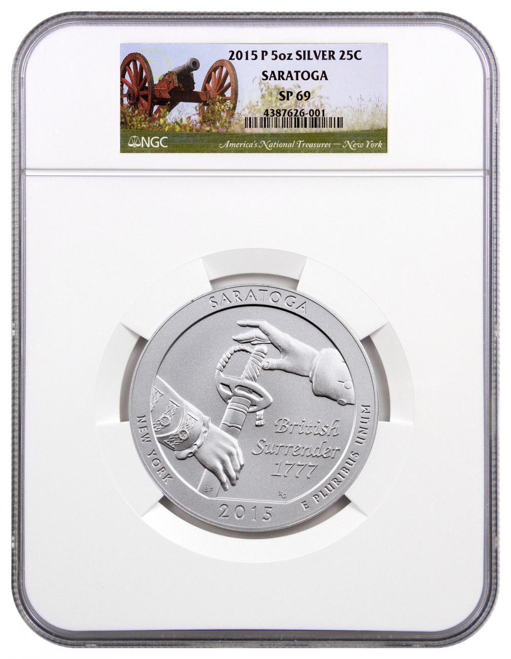 2015-P Saratoga 5 oz. Silver America the Beautiful Specimen Coin NGC SP69
