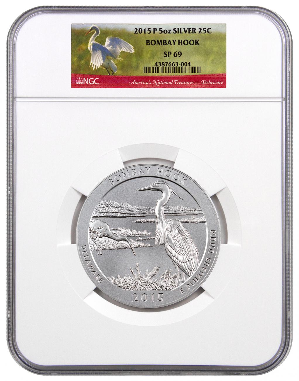 2015-P Bombay Hook 5 oz. Silver America the Beautiful Specimen Coin NGC SP69
