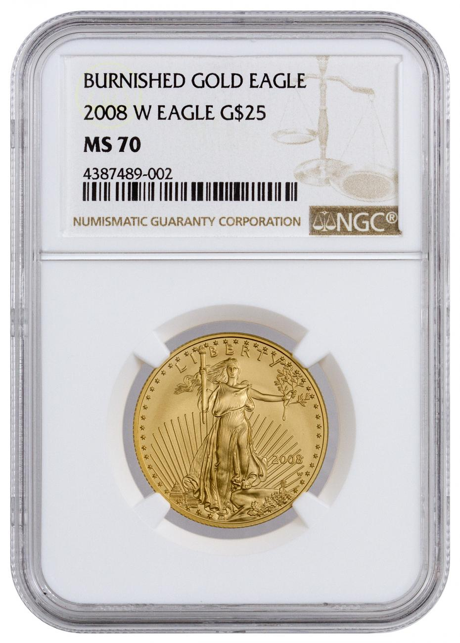 2008-W 1/2 oz Burnished Gold American Eagle $25 NGC MS70