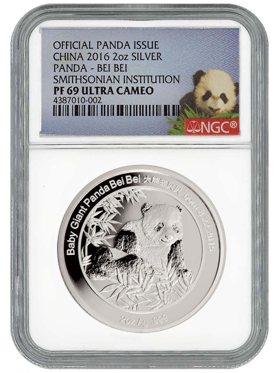 2016 China Bei Bei Smithsonian Institution Official Mint Medal 2 oz Silver Proof Medal NGC PF69 UC