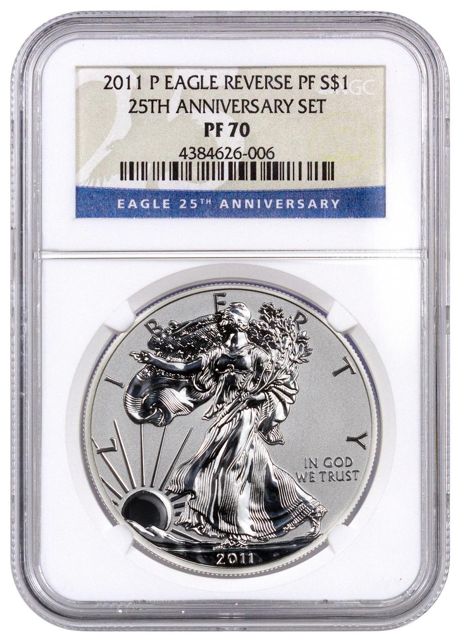 2011 P Reverse Proof Silver Eagle From 25th Anniversary
