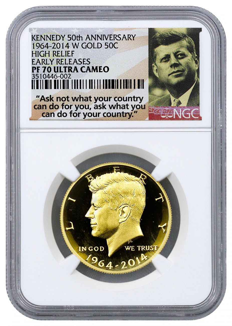 2014-W Kennedy 50th Anniversary Commemorative Half Dollar Proof NGC PF70 UC ER (Ask Not Label)