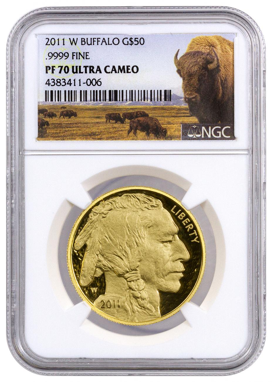 2011-W 1 oz Gold Buffalo Proof $50 NGC PF70 UC (Buffalo Label)